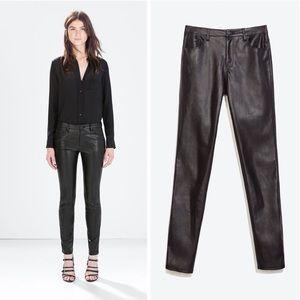 ZARA | Vegan Leather Skinny Slim Pant Legging XS